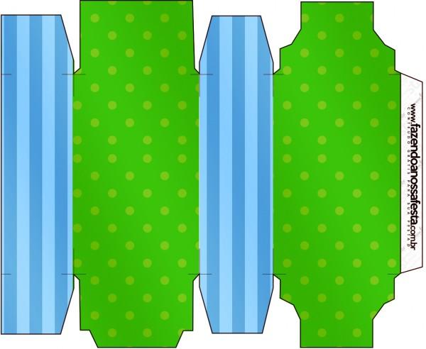 Caixa Sabonete Fundo Azul e Verde