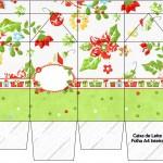 Caixa de Leite Fundo Natal Verde e Branco