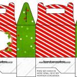 Caixa para Lembrancinha Fundo Natal Vermelho e Verde