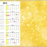 Calendário 2014 Fundo Ano Novo