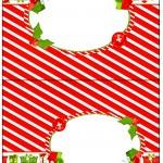 Cartão Agradecimento de Mesa Fundo Natal Vermelho e Verde