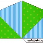 Cone Guloseimas 4 lados Fundo Azul e Verde