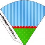 Cone Guloseimas Fundo Azul e Verde