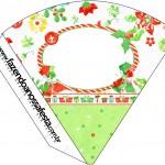 Cone Guloseimas Fundo Natal Verde e Branco