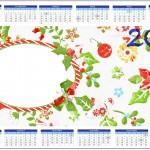 Convite Calendário 2014 Fundo Natal Verde e Branco