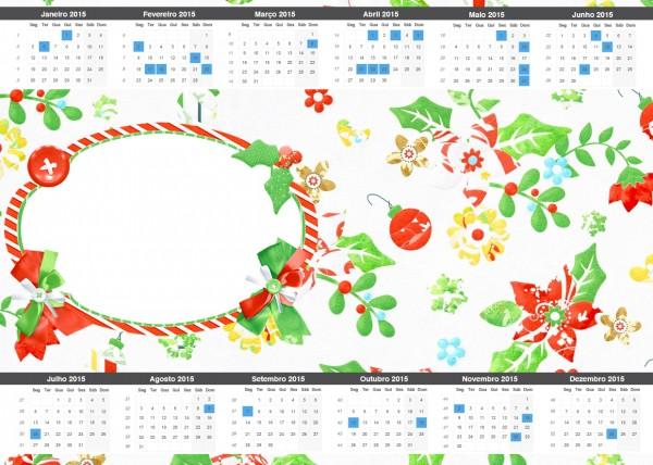 Convite Calendário 2015 2 Fundo Natal Verde e Branco