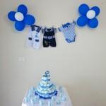 Bolo de Fraldas Decoração Chá de Bebê Azul