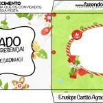 Envelope Cartão Agradecimento Fundo Natal Verde e Branco