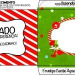 Envelope Convite Fundo Natal Vermelho e Verde