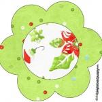 Flor Fundo Natal Verde e Branco