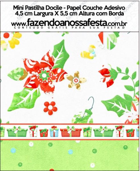 Mini Pastilha Docile Fundo Natal Verde e Branco