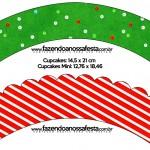 Saias Wrappers para Cupcakes Fundo Natal Vermelho e Verde