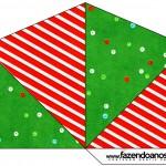 Cone Guloseimas 4 lados Fundo Natal Vermelho e Verde