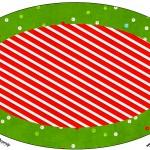 Placa Elipse Fundo Natal Vermelho e Verde