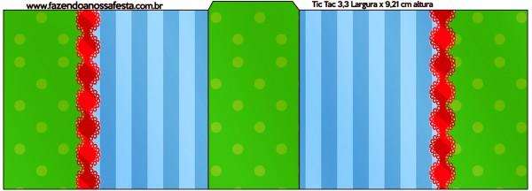 Rótulo Tic Tac Fundo Azul e Verde