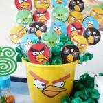 Baldinho com pirulito Festa Angry Birds