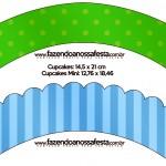 Saias Wrappera para Cupcakes Fundo Azul e Verde