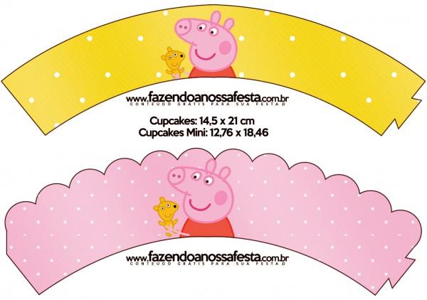 Saias Wrappers para Cupcakes Peppa Pig e Teddy