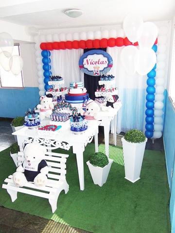 Decoração Festa Ursinho Marinheiro do Nícolas