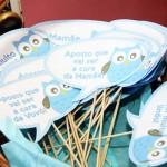 Plaquinhas Divertidas Chá de Bebê Corujinha Azul