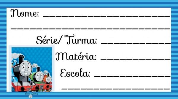 Etiqueta Escolar para Imprimir Thomas e seus amigos
