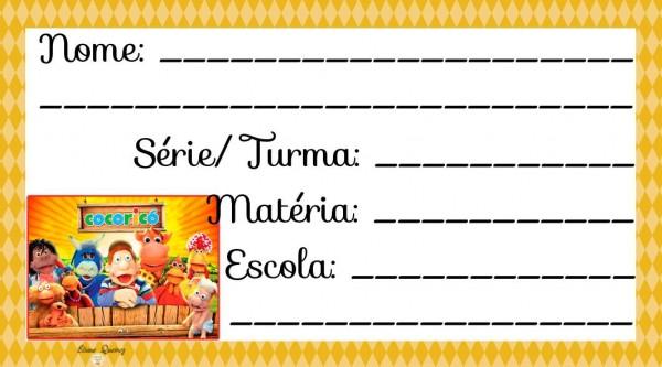 Etiqueta Escolar para Imprimir Cocoricó