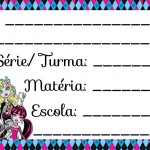 Etiqueta Escolar para Imprimir Monster High