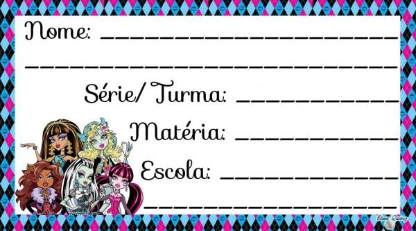 Etiqueta Escolar para Imprimir Monster High