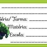 Etiqueta Escolar para Imprimir Incrível Hulk
