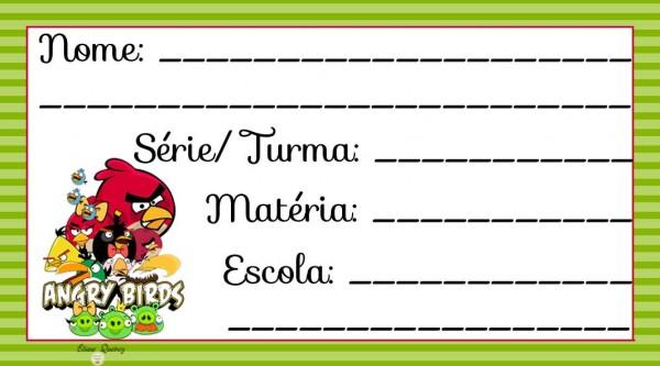 Etiqueta Escolar para Imprimir Angry Birds