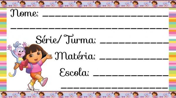 Etiqueta Escolar para Imprimir Dora