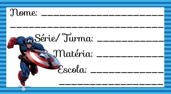 Etiqueta Escolar para Imprimir Capitão América
