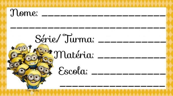 Etiqueta Escolar para Imprimir Minions