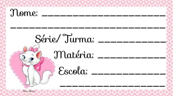 Etiqueta Escolar para Imprimir Gatinha Marie