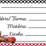 Etiqueta Escolar para Imprimir Carros Disney