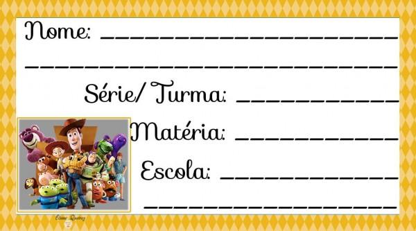 Etiqueta Escolar para Imprimir Toy Story