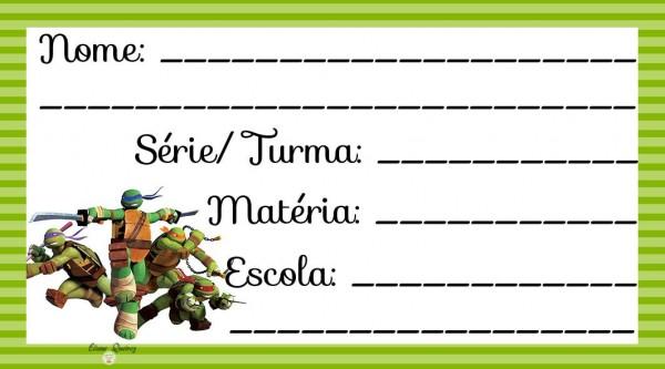 Etiqueta Escolar para Imprimir Tartarugas Ninjas