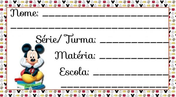 Etiqueta Escolar para Imprimir Mickey