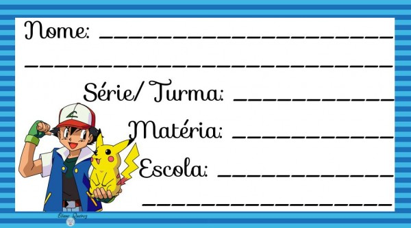 Etiqueta Escolar para Imprimir Pokémon