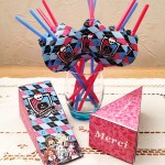 Enfeite Canudinho e Caixa Fatia Festa Monster High Rosa