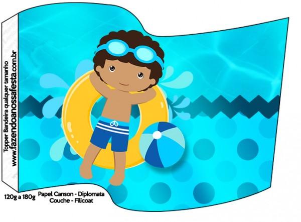 Bandeirinha Sanduiche Pool Party Menino Moreno