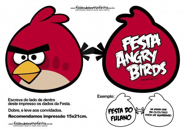 CONVITE Especial Angry Birds para Festa Infantil