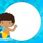 Convite 7 Pool Party Menino Moreno