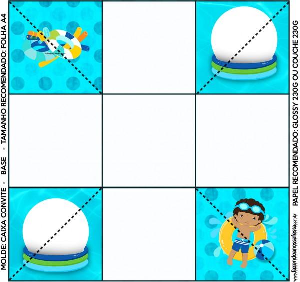 Convite Caixa Fundo Pool Party Menino Moreno