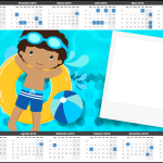 Convite Calendário 2015 Pool Party Menino Moreno