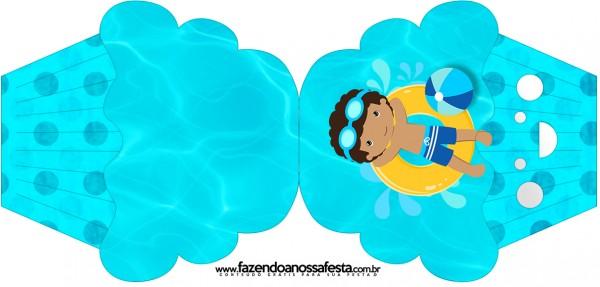 Convite Cupcake Pool Party Menino Moreno