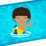Convite Pool Party Menino Moreno 2