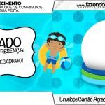 Envelope Cartão Agradecimento Pool Party Menino Moreno