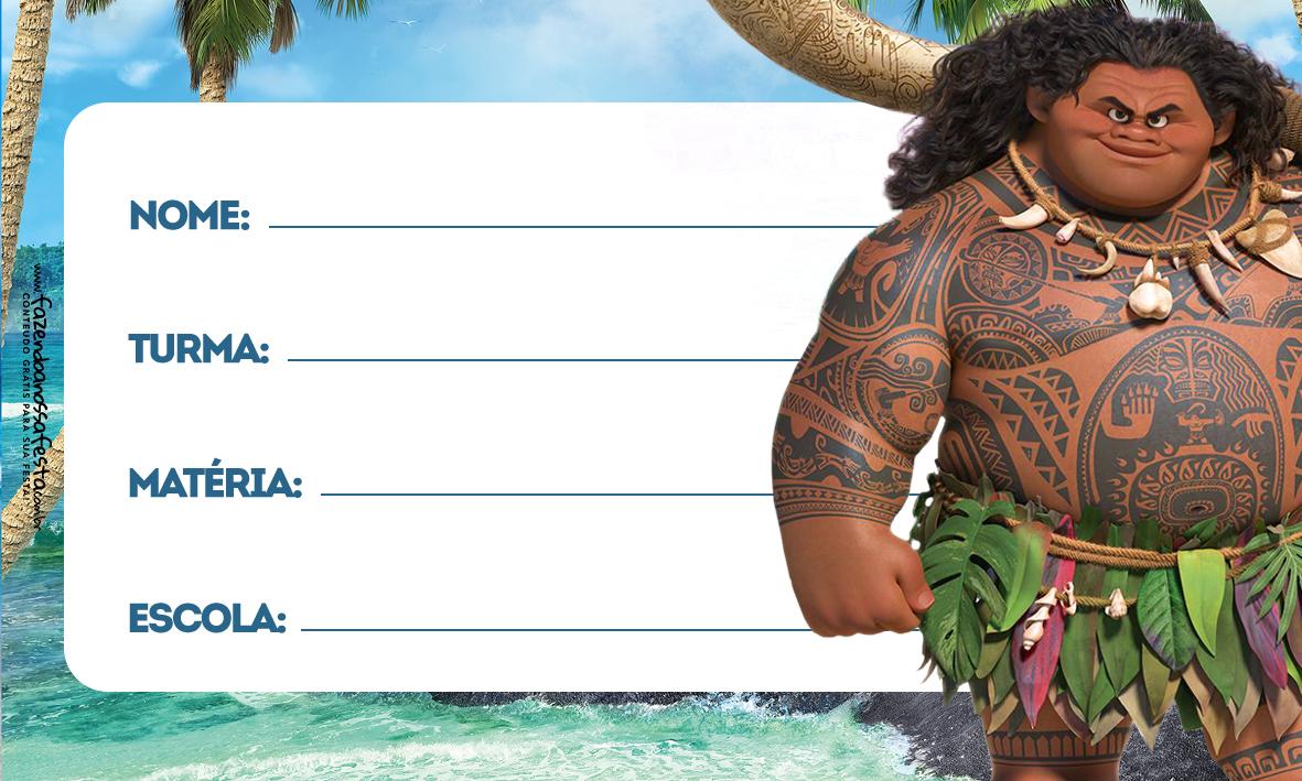 Etiqueta Escolar Moana Maui 2