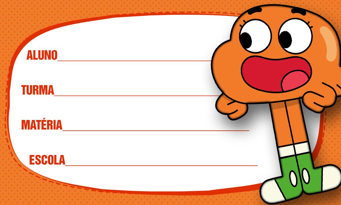 Etiqueta Escolar O Incrivel Mundo de Gumball 5